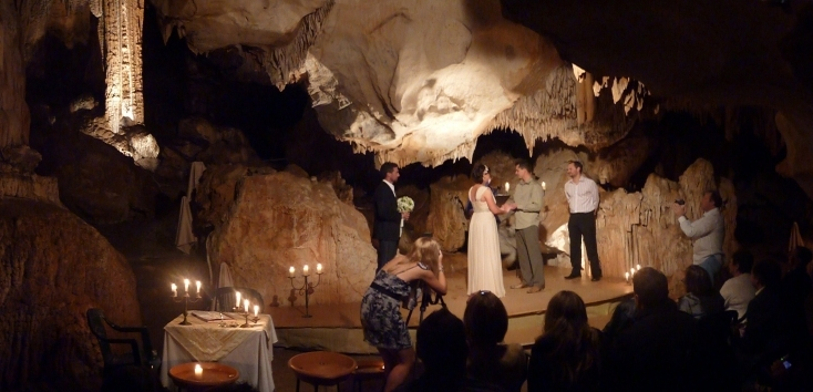 Wedding couple on stage in Careys Cave